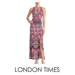 London Times Paisley Sleeveless Maxi Dress Sz 12